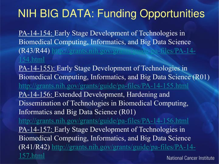 NIH BIG DATA: Funding Opportunities