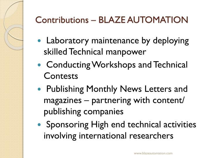 Contributions – BLAZE AUTOMATION