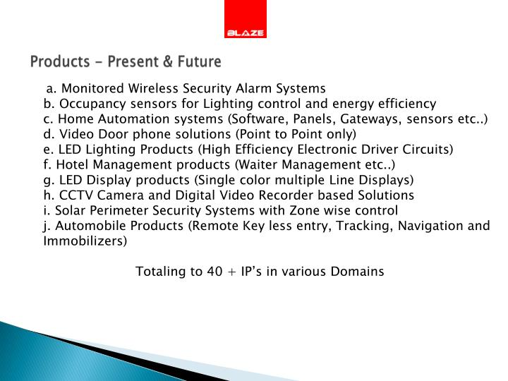 Products - Present & Future