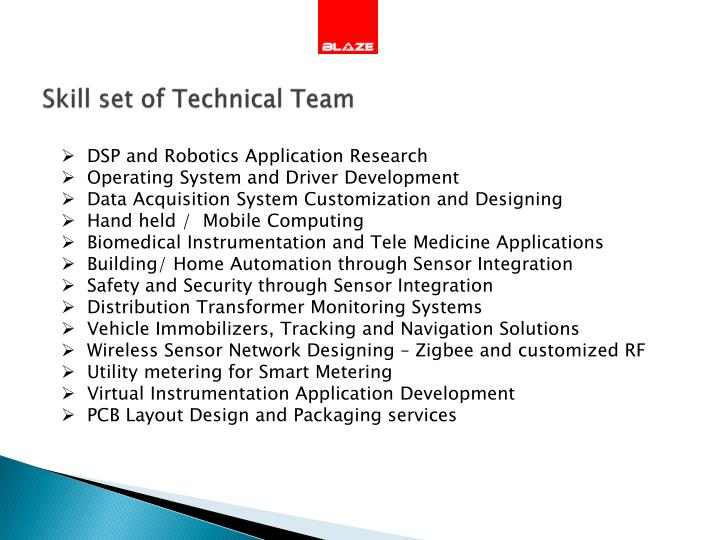 Skill set of Technical Team