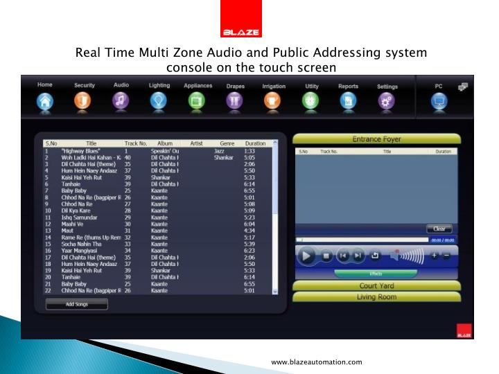 Real Time Multi Zone Audio and Public Addressing system  console on the touch screen