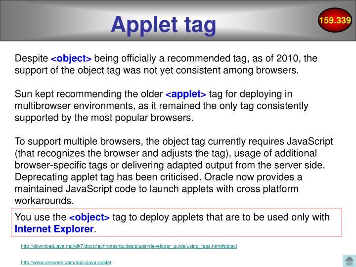 Applet tag