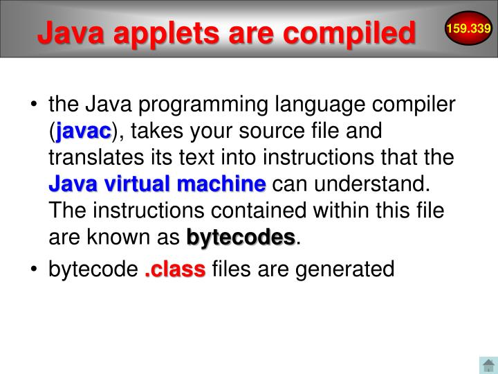 Java applets are compiled