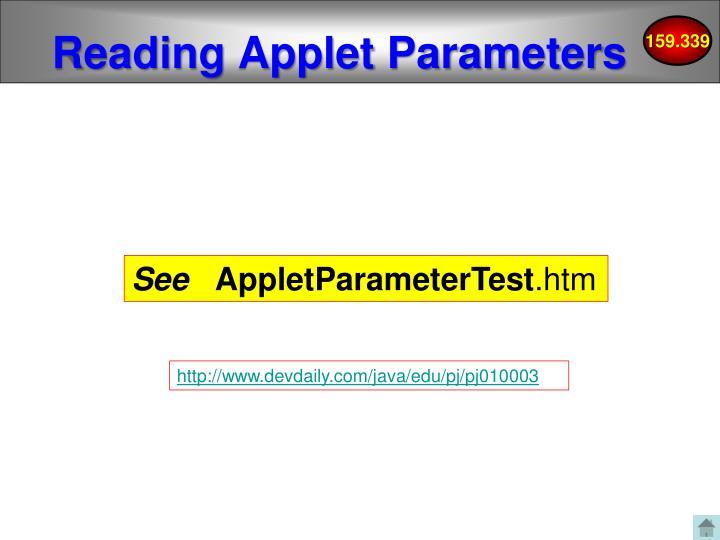 Reading Applet Parameters