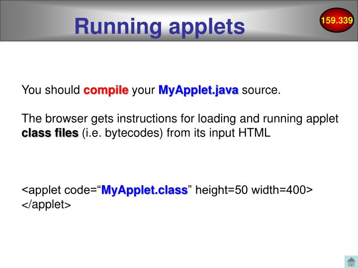 Running applets