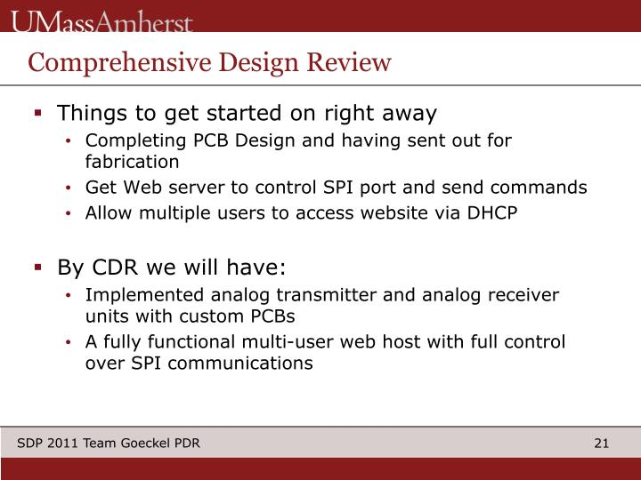 Comprehensive Design Review