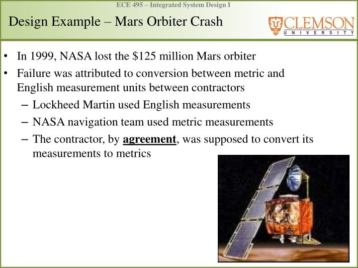Design example mars orbiter crash