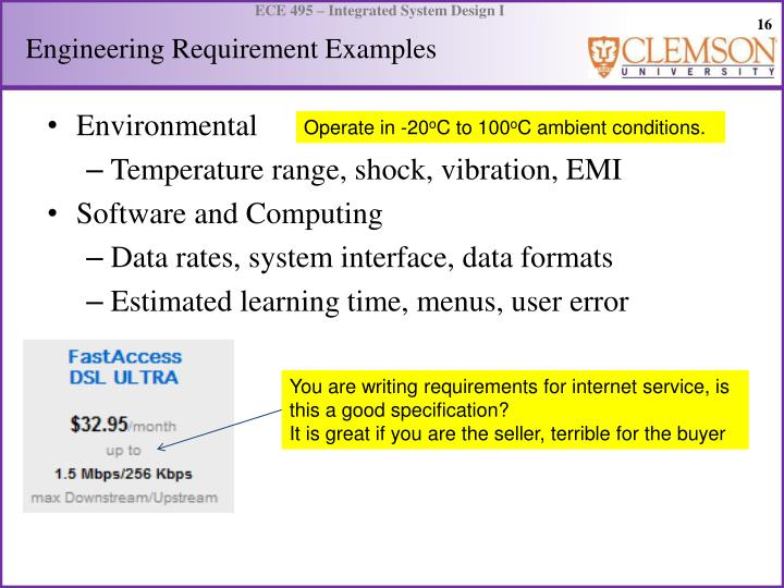 Engineering Requirement Examples