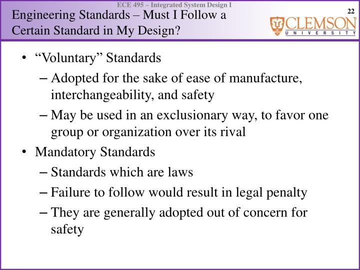 Engineering Standards – Must I Follow a Certain Standard in My Design?