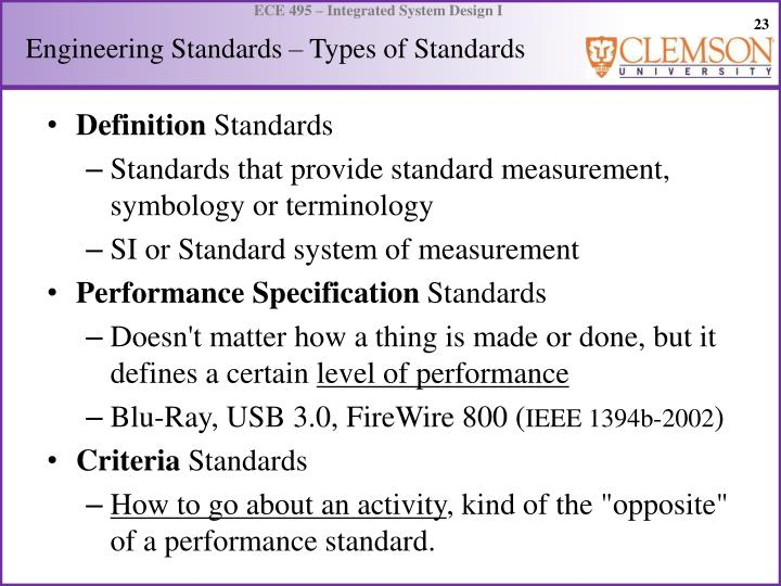 Engineering Standards – Types of Standards