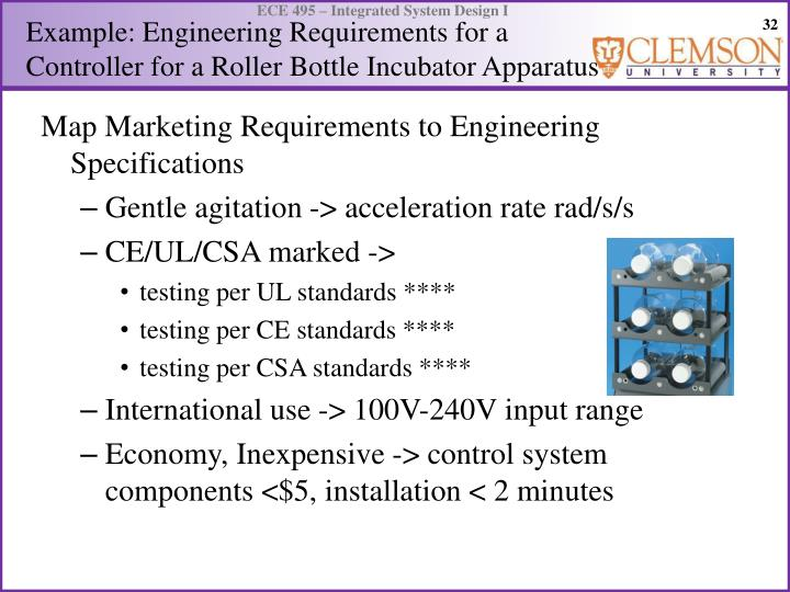 Example: Engineering Requirements for a Controller for a Roller Bottle Incubator Apparatus