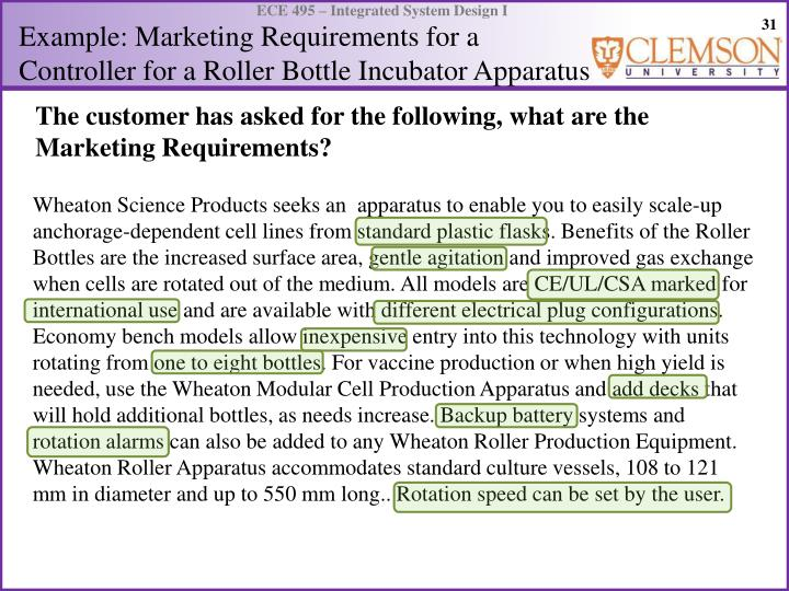 Example: Marketing Requirements for a Controller for a Roller Bottle Incubator Apparatus