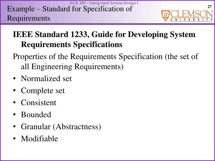 Example – Standard for Specification of Requirements