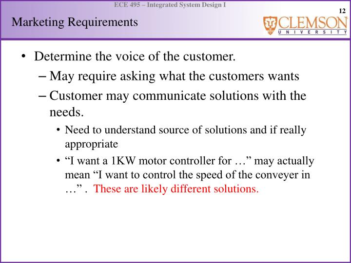 Marketing Requirements