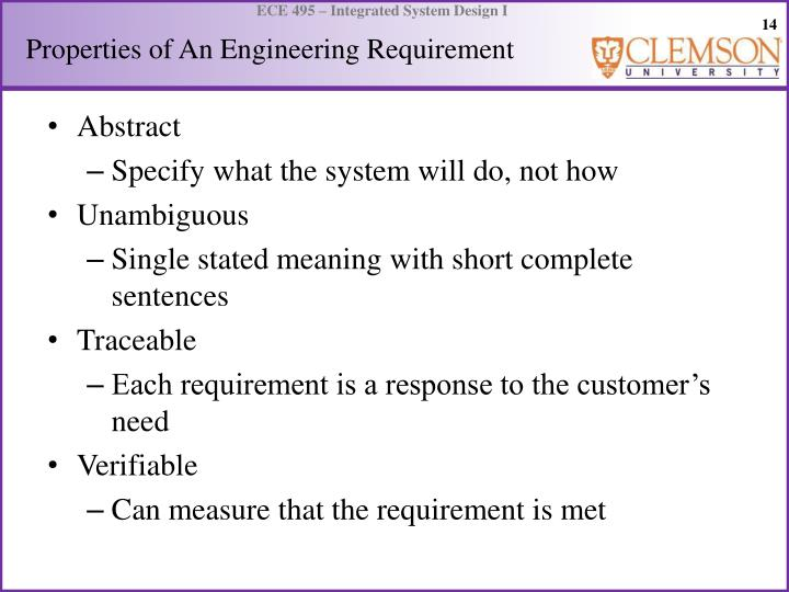 Properties of An Engineering Requirement