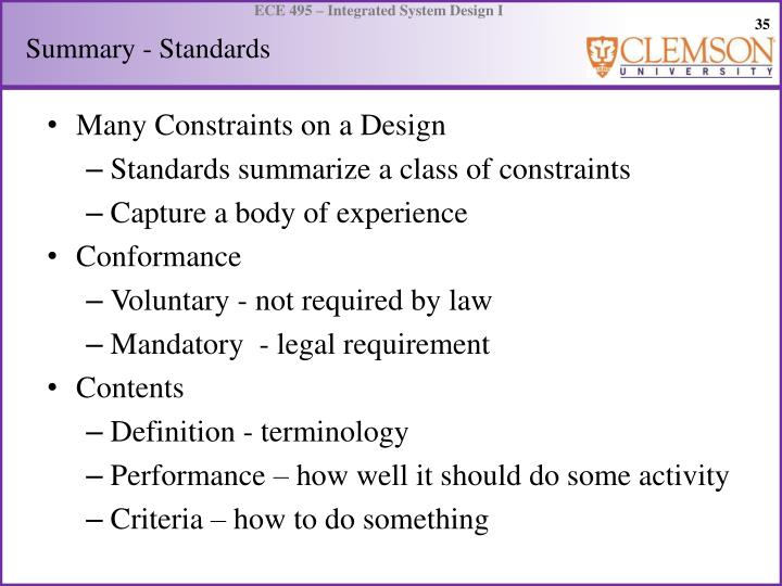 Summary - Standards