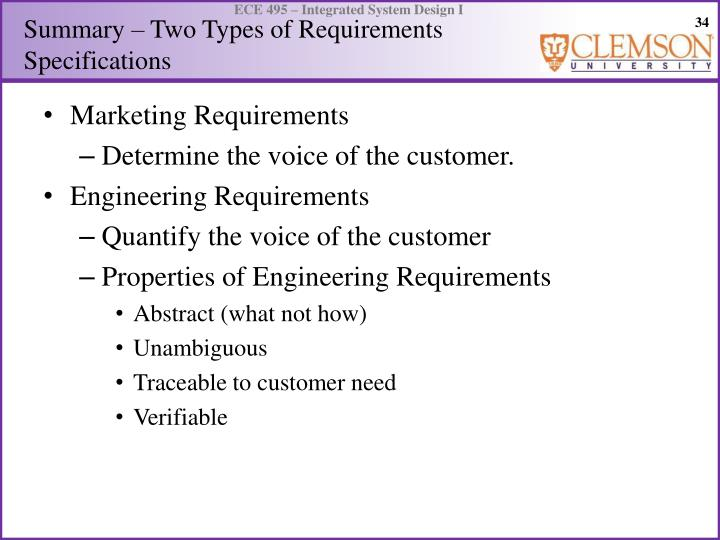 Summary – Two Types of Requirements Specifications