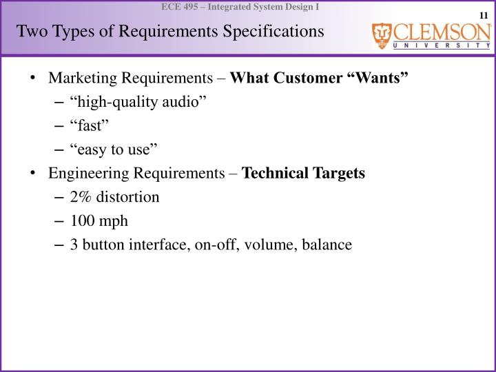 Two Types of Requirements Specifications