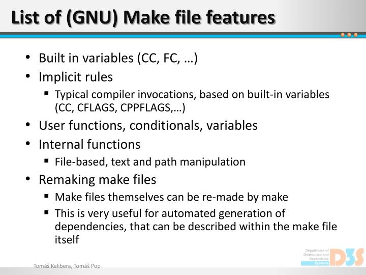 List of (GNU) Make file features