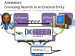 attestation conveying records to an external entity