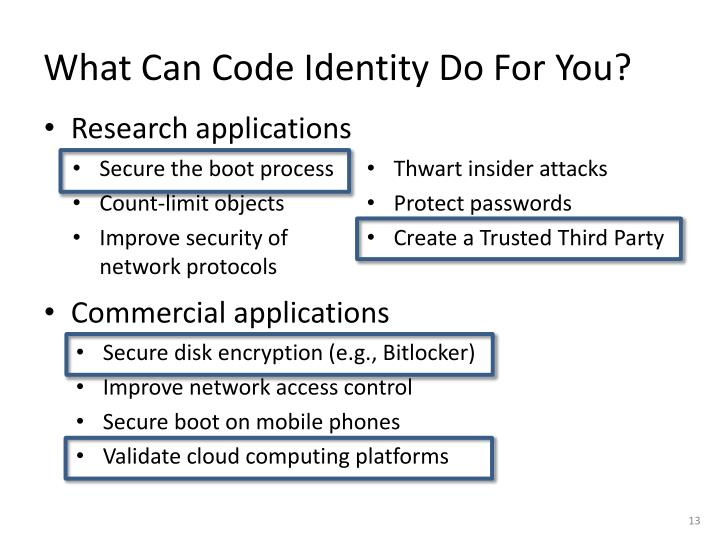 What Can Code Identity Do For You?
