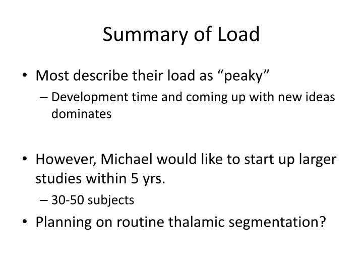 Summary of load