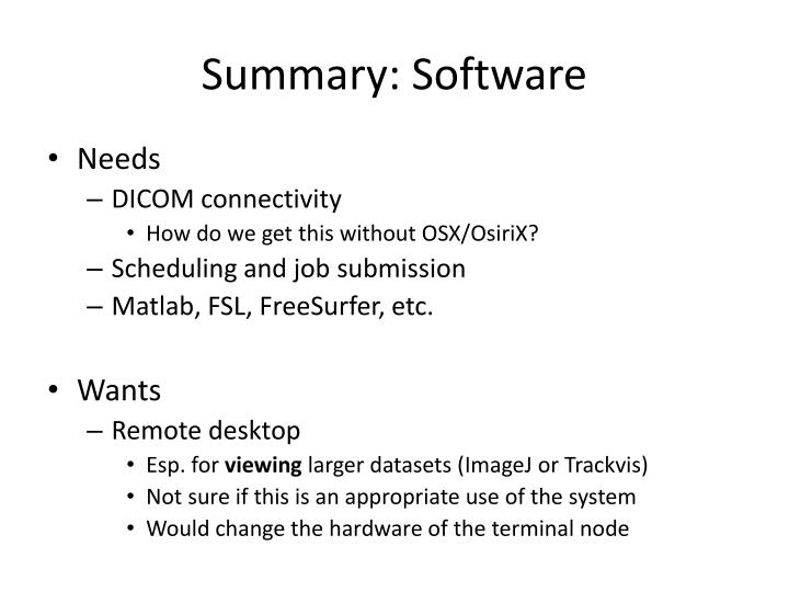 Summary: Software