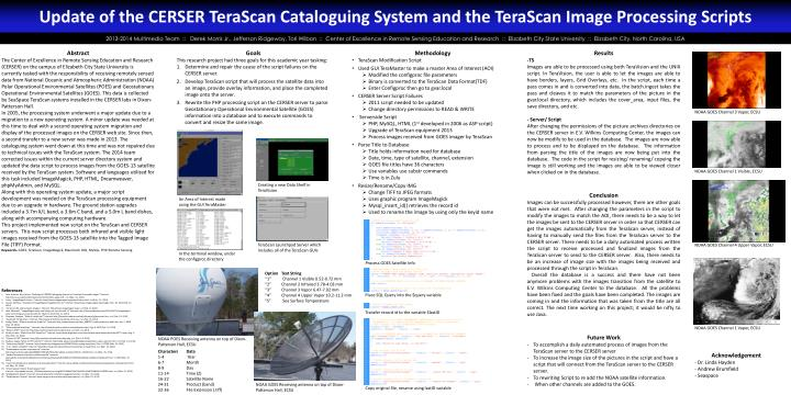 update of the cerser terascan cataloguing system and the terascan image processing scripts