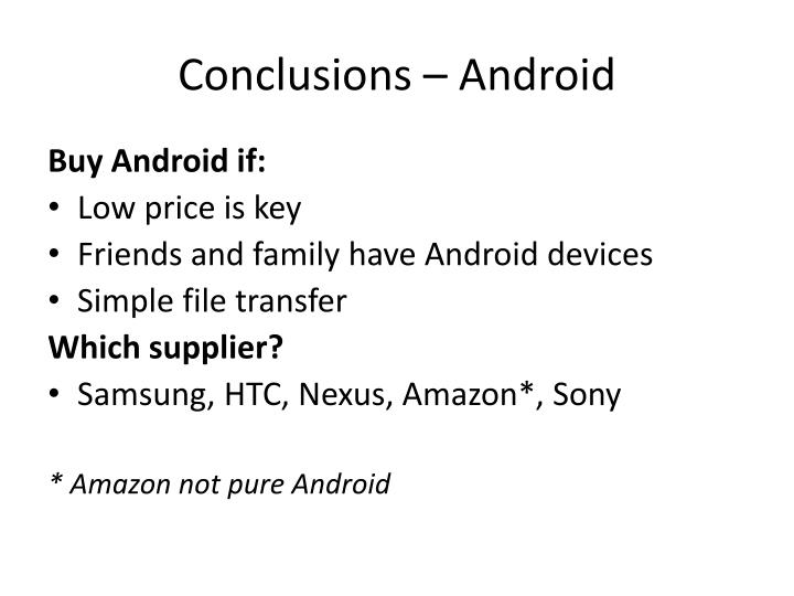 Conclusions – Android