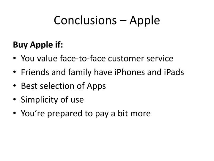 Conclusions – Apple