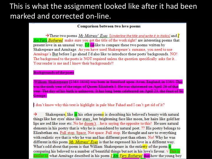 This is what the assignment looked like after it had been marked and corrected on-line.