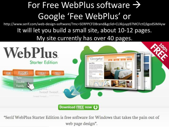 For Free WebPlus software