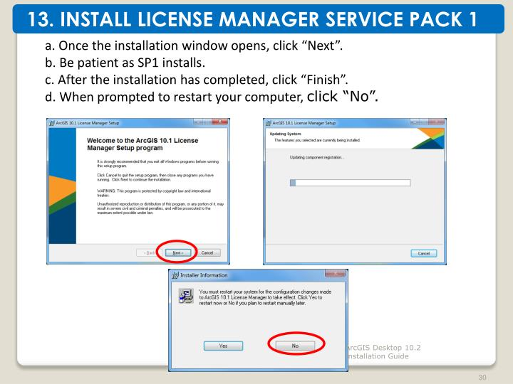 13. INSTALL LICENSE MANAGER SERVICE PACK 1