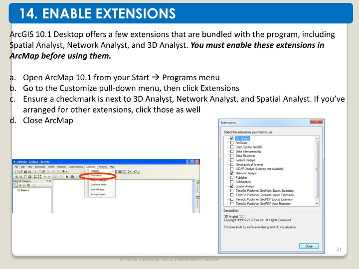 14. ENABLE EXTENSIONS