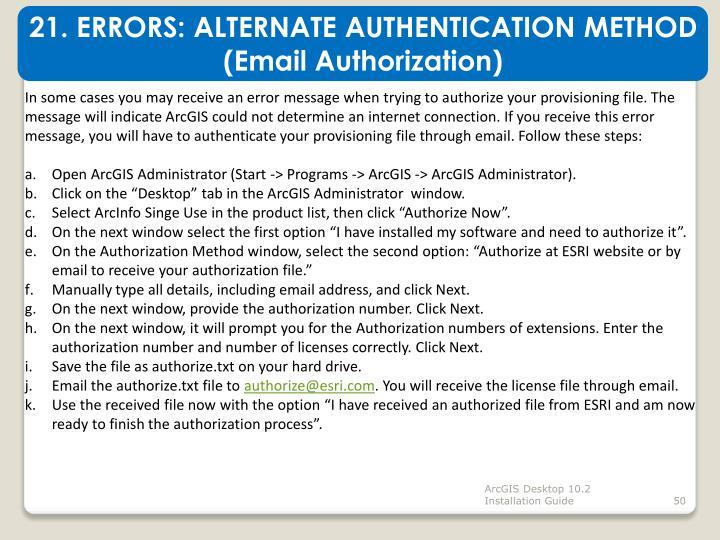 21. ERRORS: ALTERNATE AUTHENTICATION METHOD (Email Authorization)
