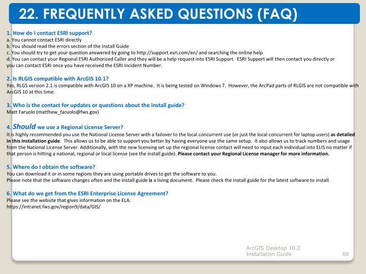 22. FREQUENTLY ASKED QUESTIONS (FAQ)