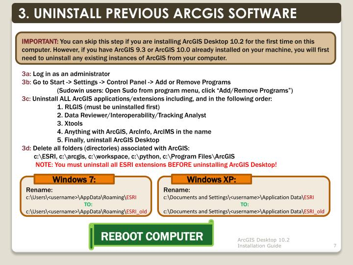 3. UNINSTALL PREVIOUS ARCGIS SOFTWARE