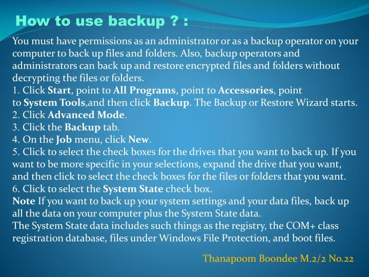 How to use backup ? :
