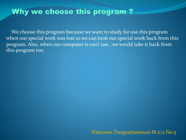 Why we choose this program ?