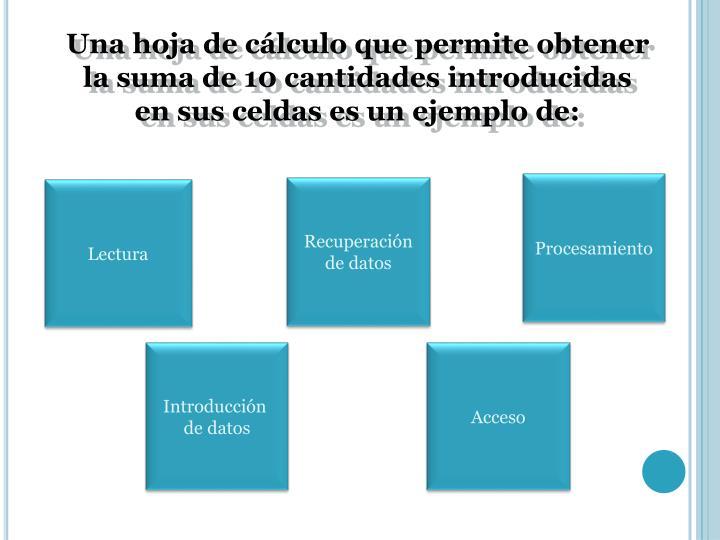 Una hoja de cálculo que permite obtener la suma de 10 cantidades introducidas en sus celdas es un ejemplo de: