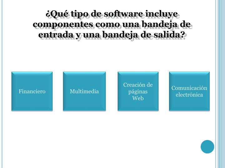 ¿Qué tipo de software incluye componentes como una bandeja de entrada y una bandeja de salida?
