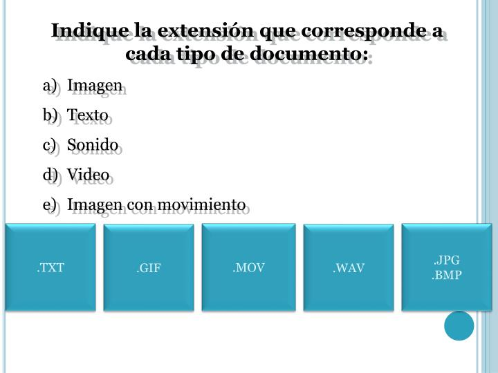 Indique la extensión que corresponde a cada tipo de documento: