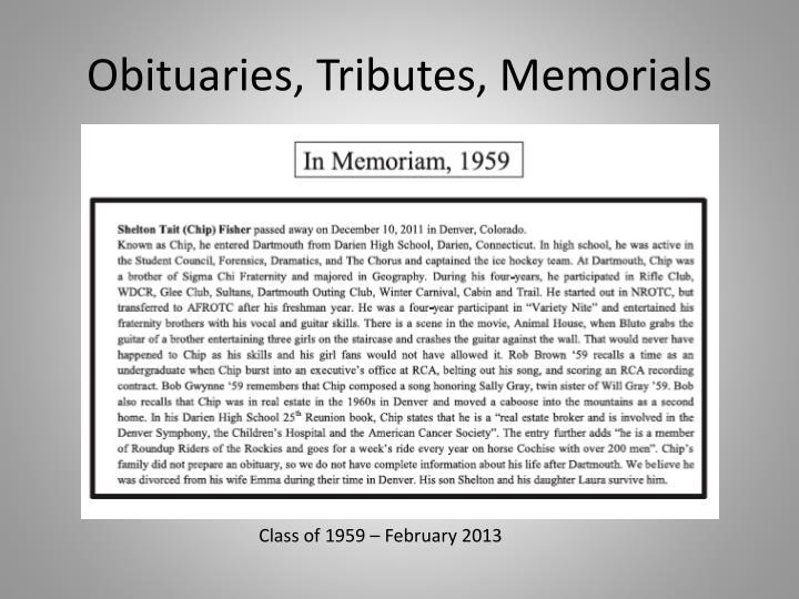 Obituaries, Tributes, Memorials