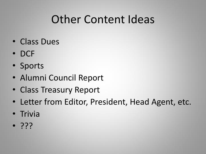 Other Content Ideas