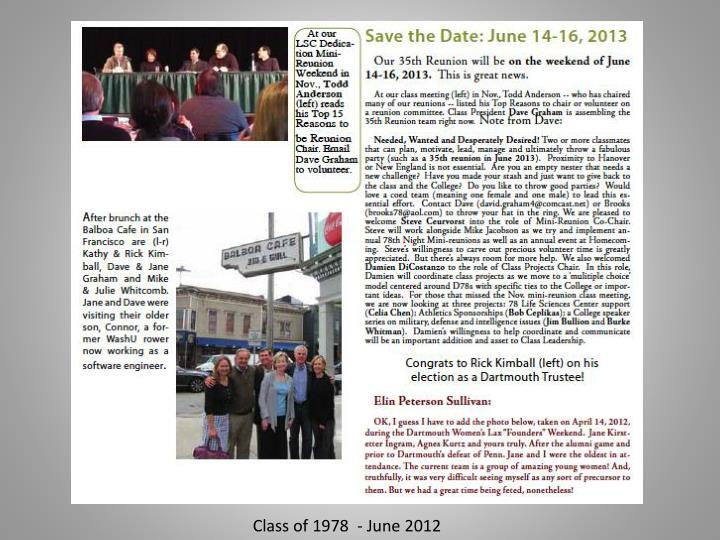 Class of 1978  - June 2012