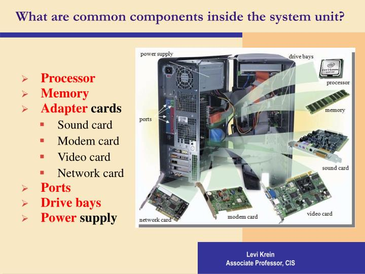 What are common components inside the system unit?