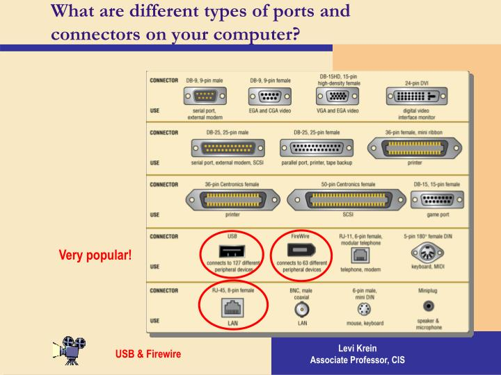 What are different types of ports and connectors on your computer?