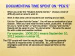 documenting time spent on peg s