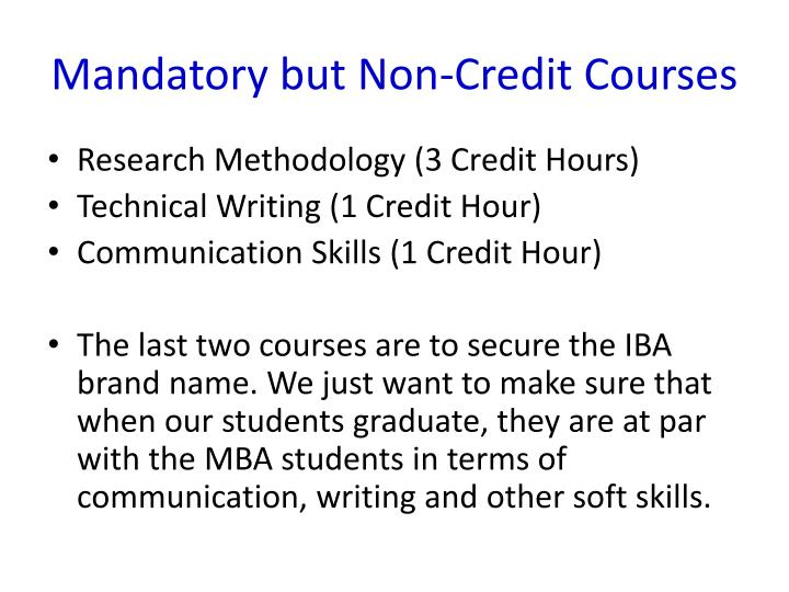 Mandatory but Non-Credit Courses