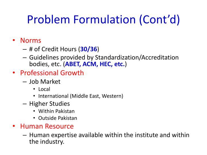 Problem Formulation (Cont'd)